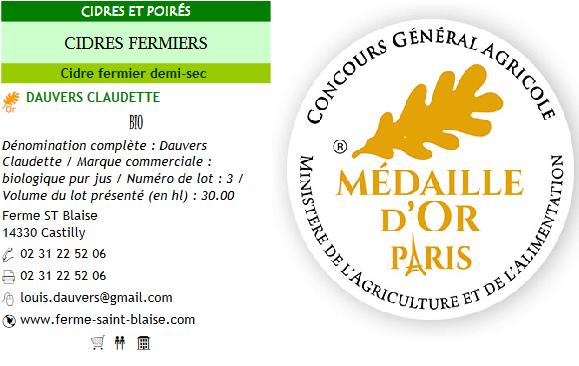 médaille d'or concours général agricole cidre brut normandie ferme saint blaise